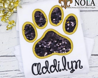 Flip Sequins Paw Print Applique, Sequined Paw Print Applique, Sparkly Paw Print Applique, Black and Gold Sequins