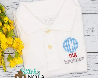 Monogrammed Big Brother Collared Shirt, Big Brother Polo Shirt