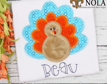 Thanksgiving Turkey Applique Shirt, Personalized Thanksgiving Shirt