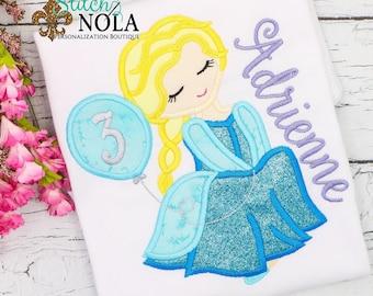 Elsa Inspired Birthday Applique, Frozen Inspired Birthday applique, Princess Applique, Frozen Princess Applique