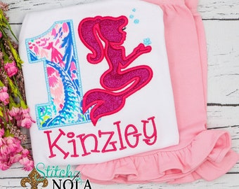Personalized Mermaid Birthday Top and Shorts Set, Mermaid Birthday Outfit, Mermaid Applique