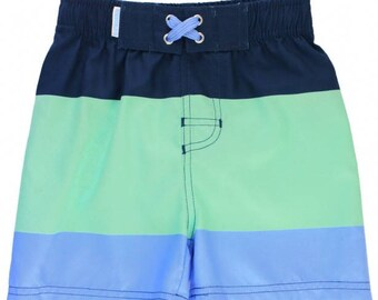 Mint & Blue Color Block Swim Trunks