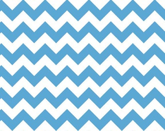 Medium Blue and White Small Chevron Fabric, Riley Blake, 100% Cotton, Blue Chevron