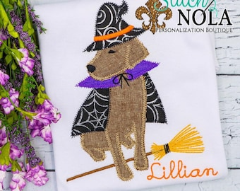 Halloween Dog, Trick or Treat Dog, Applique Dog Witch, Halloween Embroidery, Halloween
