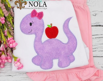 Girl Dinosaur with Apple Shirt and Short Set, Back to School Shirt,  Dino Back to School Outfit