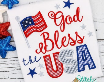 God Bless the USA Applique, American Flag, Patriotic  Applique, Red White and Blue Applique, America Applique, Memorial Day, Fourth of July