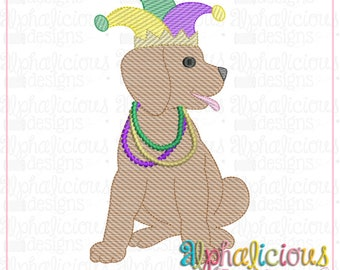 Mardi Gras Dog with Beads and Jester Hat Sketch Embroidery, Parade Dog, Mardi Gras Dog
