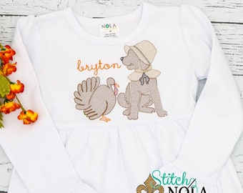 Pilgrim with Turkey Dog Sketch Embroidery, Dog with Turkey , Lab with Turkey , Turkey Pup, Thanksgiving Lab, Thanksgiving Puppy