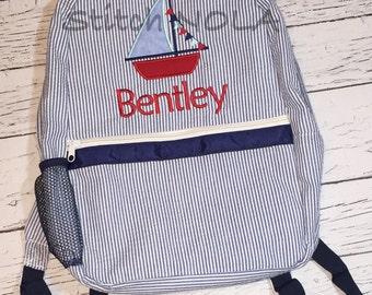 Seersucker Backpack with Sailboat, Seersucker Diaper Bag, Seersucker School Bag, Seersucker Bag, Diaper Bag, School Bag, Book Bag, Backpack