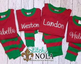 PRE-ORDER Monogrammed Christmas Pajamas, Personalized Christmas Pajamas, Kids Christmas Pajamas, Polar Express Pajamas, XMAS Pajamas