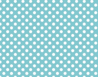 Aqua Small Dots Fabric, Riley Blake, 100% Cotton, Aqua Polka Dots