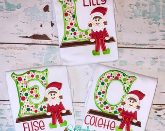 Elf Alpha Applique, Elf with Letter, Elf Applique, Girl Christmas Shirt,  Boy Christmas Applique
