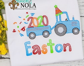 New Year's Tractor And Wagon Sketch Embroidery, New Year's Eve Sketch Embroidery, New Year Sketch Embroidery, New Year Shirt