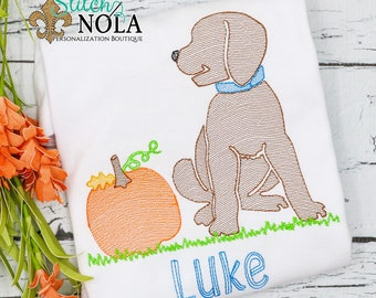 Pumpkin Dog Sketch Embroidery, Dog with Pumpkin, Lab with Pumpkin, Pumpkin Pup