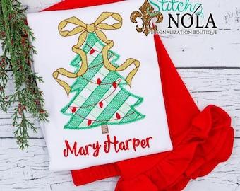 Christmas Tree With Ribbon Outfit , Sketch Christmas Tree, X-Mas Tree, Top and Bottom Set