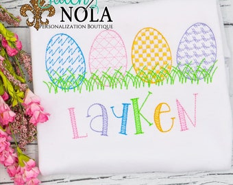 Motif Easter Eggs, Easter Sketch Embroidery, Spring Embroidery, Easter Egg Hunt Shirt, Girl Easter Egg Shirt