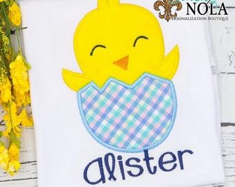 Boy Chick in Easter Egg Applique, Easter Applique Shirt, Chick Applique, Spring Applique Shirt, Boy Easter Shirt