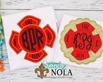 Fire Badge Applique, Fireman Applique, Fireman Badge Applique, Fireman Applique, Fireman Shirt