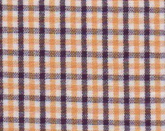 Purple & Gold Check Fabric, Fabric Finders,100 percent cotton, Purple and Gold Gingham 1/4″ tri check