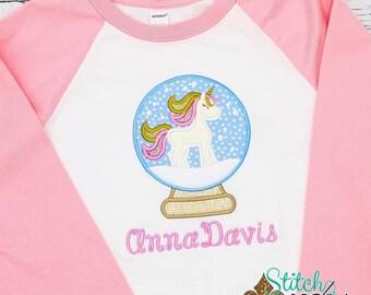 Unicorn Snow Globe Applique, Winter Applique, Christmas Applique, Christmas Outfit, Xmas