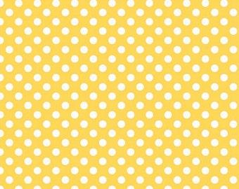 Yellow Small Dots Fabric, Riley Blake, 100% Cotton, Yellow Polka Dots