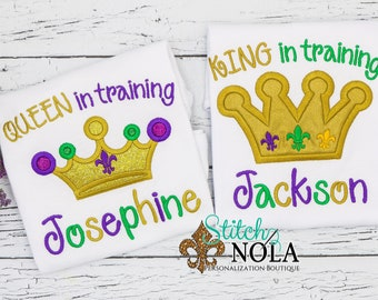 Mardi Gras QUEEN or KING in Training Shirt, Bodysuit or Gown