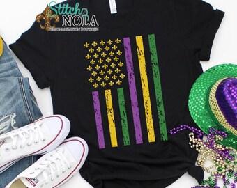 Mardi Gras Flag Screen Print UNISEX Shirt