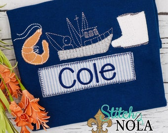 Shrimp Boat Trio with Name Patch Applique, Shrimping Shirt, Shrimp Boat Applique, Shrimp Boots Applique