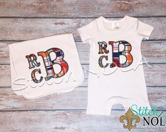 Stacked Madras Plaid Appliqued Monogram Romper, Bib, Burp Cloth Bubble, Tee, Gown, or Bodysuit