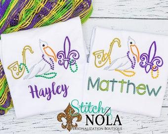 Mardi Gras Pelican, Saxophone and Fleur de lis with  Sketch Embroidery, Mardi Gras King Cake, Mardi Gras Shirt, Mardi Gras Beads, Mardi Gras