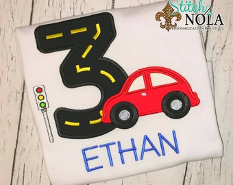 Car Birthday Shirt,Car Applique, Car with Road Birthday Shirt, Race Car Birthday, Car Shirt, Traffic Signal Birthday