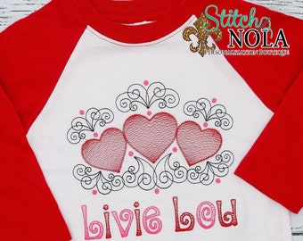 Valentines Heart Trio Sketch Embroidery, Valentines Day Sketch Embroidery, Valentines Day Shirt, Hearts Sketch Embroidery
