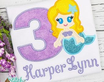 Glitter Mermaid Birthday Tee, Bubble, Bodysuit ot Dress
