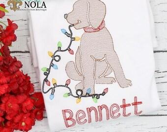 Christmas Lights Dog Sketch Embroidery, Christmas Lights Dog Sketch Embroidery, Christmas Shirt, Christmas Lights Dog