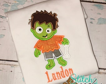 Zombie appliqué, Zombie shirt, Halloween shirt, Boy Zombie
