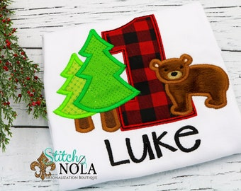 Lumberjack Birthday Appliqué, Forest Bear Birthday Appliqué , Buffalo Plaid Applique, Buffalo Plaid Applique, Bear Applique, Birthday Appliq