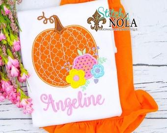 Floral Pumpkin Shirt and Short Set, Girls Fall Outfit, Girls Pumpkin Shirt, Pumpkin Tee
