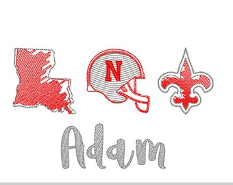Red and Gray Football Trio Sketch Embroidery,LA Football, Colonel Football