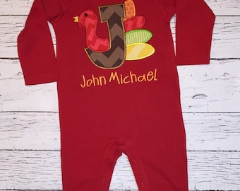 Red Long Sleeve UNISEX Romper with Turkey Alpha