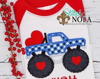 Truck Heart Applique, Valentines Day Appliqué