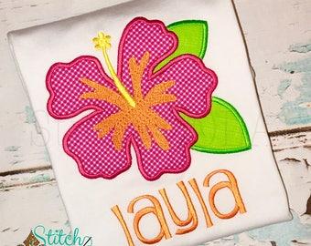 Hibiscus Applique, Hawaiian Flower, Flower Applique, Luau Birthday, Hawaiian Birtjday Bubble, Tee, Gown, or Bodysuit