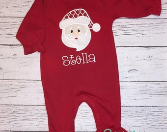 Red Long Sleeve  Romper with Santa Applique