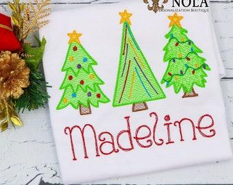 Vintage Christmas Tree Embroidery, Christmas Tree Trio, Christmas Sketch Design, Christmas Shirt, Holiday Shirt