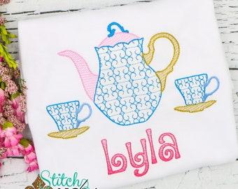 Tea Pot and Tea Cups Vintage Embroidery, Vintage Tea Pot Set, Tea Birthday Party, Tea for Two