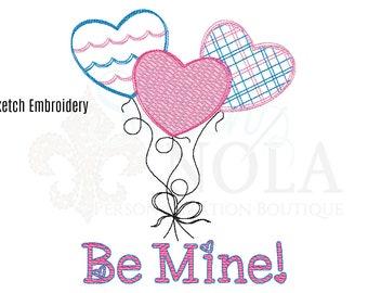 Valentine's Day Heart Balloon Trio Sketch Embroidery, Valentines Day Embroidery