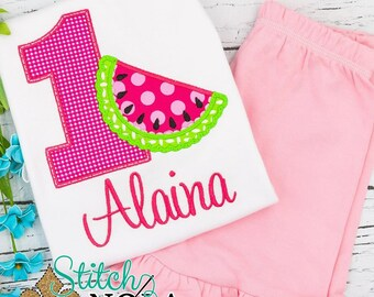 Watermelon Birthday Top and Shorts Set, Watermelon Applique, Watermelon Birthday