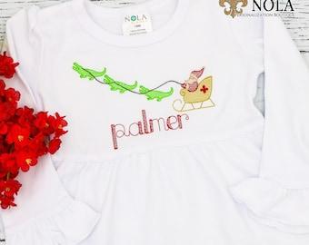 Cajun Christmas, Alligators Pulling Santas Sleigh, Gators Pulling Santas Sleigh, Cajun Christmas Sketch Embroidery, Vintage Cajun XMAS