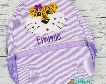 Seersucker Backpack with Tiger, Seersucker Diaper Bag, Seersucker School Bag, Seersucker Bag, Diaper Bag, School Bag, Book Bag, Backpack