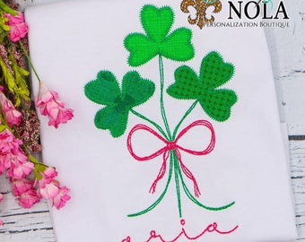 Shamrock Patch With Bow Applique, Clovers With Bow Applique, St Patrick's Day Applique, St Patty's Shirt, Girl St Patty's Shirt