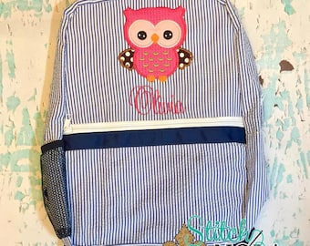 Seersucker Backpack with Owl Applique, Seersucker Diaper Bag, Seersucker School Bag, Seersucker Bag, Diaper Bag, School Bag, Book Bag, Back
